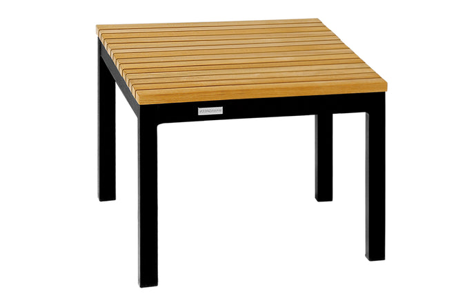 Ekka Teak Side Table by Mamagreen - Small, Ink Black Aluminum.
