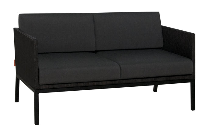 Jaydu 2-Seater Lounge Sofa by Mamagreen - Black Sand Aluminum, Coal Sunbrella Cushion.