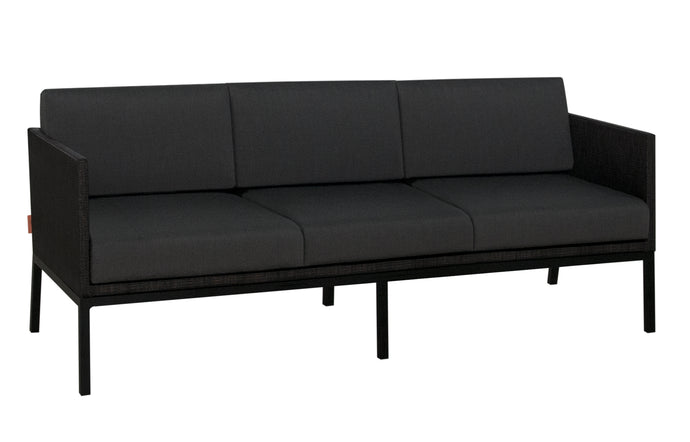Jaydu 3-Seater Lounge Sofa by Mamagreen - Black Sand Aluminum, Coal Sunbrella Cushion.