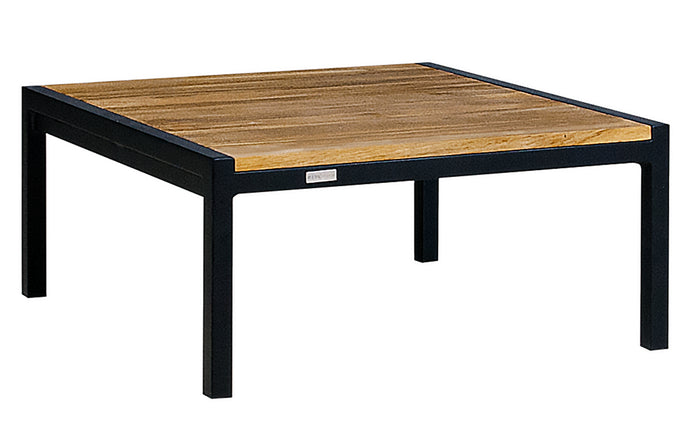 Jaydu Teak End Table by Mamagreen - Ink Black Aluminum.
