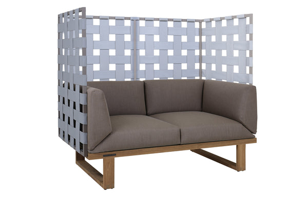 Kyoto 2-Seater Privacy Sofa by Mamagreen - Taupe Sand Aluminum, Grey Twitchell Leisuretex, Taupe Sunbrella Cushion.