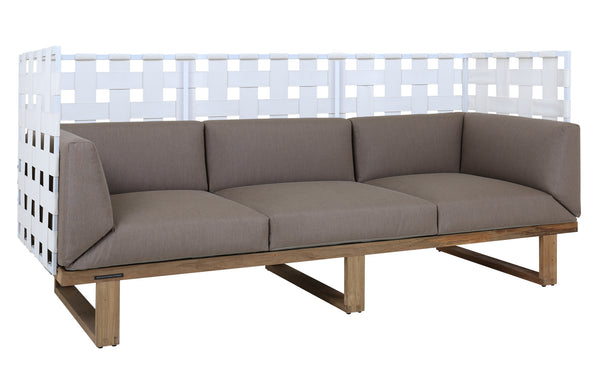 Kyoto 3-Seater Highback Sofa by Mamagreen - White Sand Aluminum, White Twitchell Leisuretex, Taupe Sunbrella Cushion.