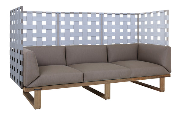 Kyoto 3-Seater Privacy Sofa by Mamagreen - Taupe Sand Aluminum, Grey Twitchell Leisuretex, Taupe Sunbrella Cushion.