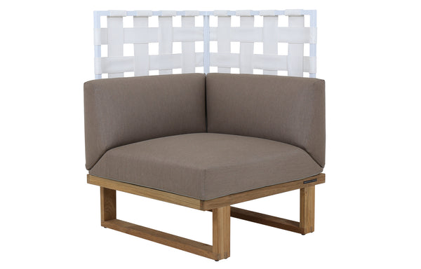 Kyoto Sectional Corner Highback by Mamagreen - White Sand Aluminum, White Twitchell Leisuretex, Taupe Sunbrella Cushion.