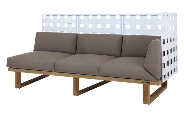 Kyoto Sectional Left Hand 3-Seater Highback by Mamagreen - White Sand Aluminum, White Twitchell Leisuretex, Taupe Sunbrella Cushion.
