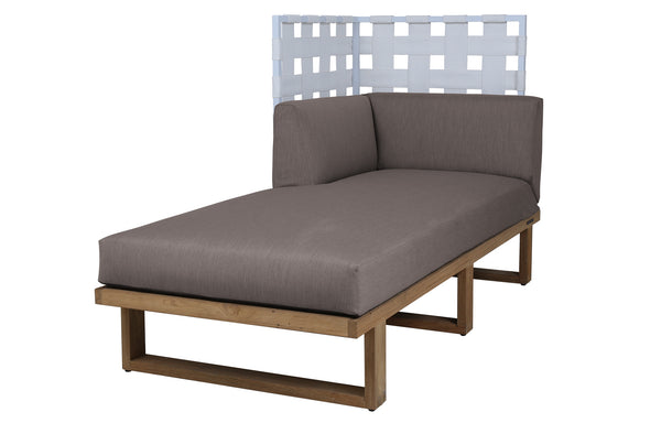 Kyoto Sectional Left Hand Chaise Highback by Mamagreen - White Sand Aluminum, White Twitchell Leisuretex, Taupe Sunbrella Cushion.