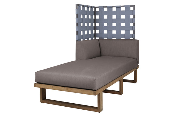 Kyoto Sectional Left Hand Chaise Privacy by Mamagreen - Taupe Sand Aluminum, Grey Twitchell Leisuretex, Taupe Sunbrella Cushion.
