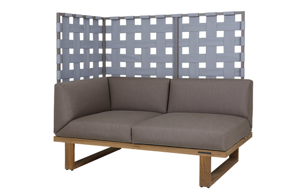Kyoto Sectional Right Hand 2-Seater Privacy by Mamagreen - Taupe Sand Aluminum, Grey Twitchell Leisuretex, Taupe Sunbrella Cushion.