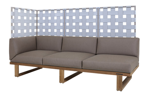 Kyoto Sectional Right Hand 3-Seater Privacy by Mamagreen - Taupe Sand Aluminum, Grey Twitchell Leisuretex, Taupe Sunbrella Cushion.