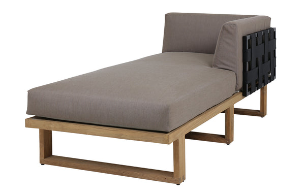 Kyoto Sectional Right Hand Chaise by Mamagreen - Black Sand Aluminum, Black Twitchell Leisuretex, Taupe Sunbrella Cushion.