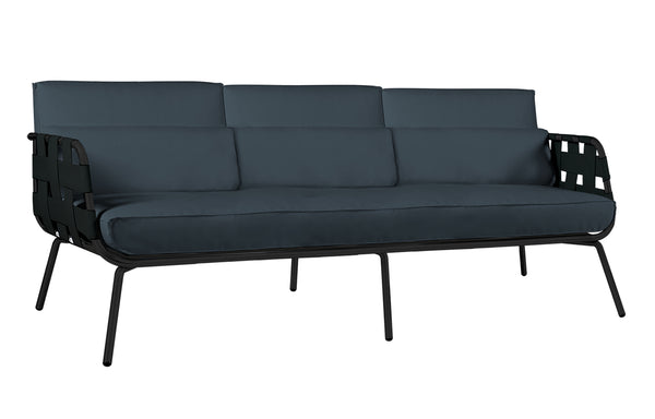 Meika 3-Seater Sofa by Mamagreen - Black Powder Coated Stainless Steel, Black Twitchell Leisuretex, Black Sunbrella Cushion.