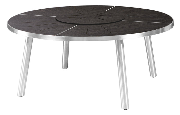 Meika HPL Round Table with Rotating Tray by Mamagreen - Stainless Steel, Slate HPL.
