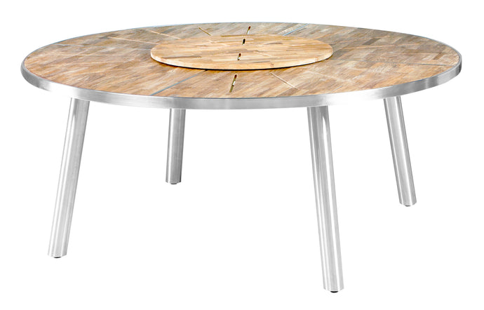Meika Teak Round Table with Rotating Tray by Mamagreen - Stainless Steel.