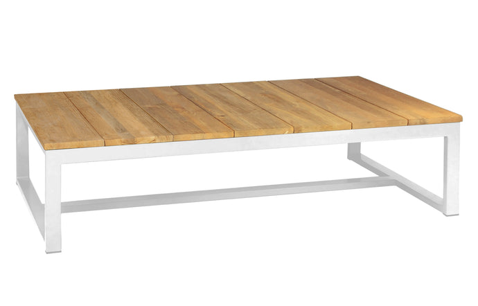 Mono Teak Long Coffee Table by Mamagreen - Urban White Aluminum.