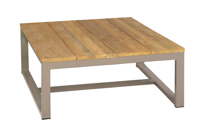 Mono Teak Square Coffee Table by Mamagreen - Taupe Sand Aluminum.