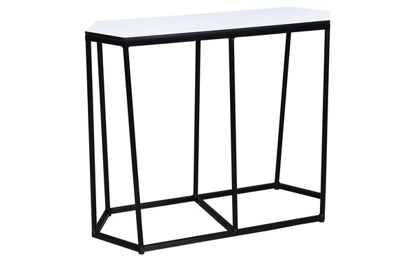 Polygon HPL Console Table by Mamagreen - Ink Black Gloss Aluminum, Alpes White HPL.