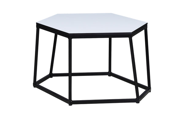 Polygon L HPL Side Table by Mamagreen - Ink Black Gloss Aluminum, Alpes White HPL.