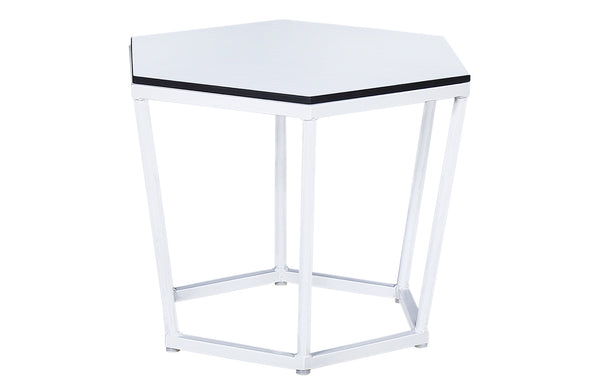 Polygon M HPL Side Table by Mamagreen - White Powder Coated Aluminum, Alpes White HPL.