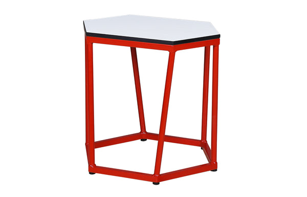 Polygon S HPL Side Table by Mamagreen - Fire Engine Red Gloss Aluminum, Alpes White HPL.