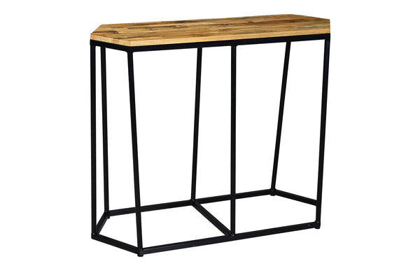 Polygon Teak Console Table by Mamagreen - Ink Black Gloss Aluminum.