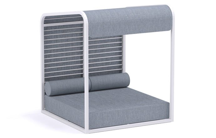 Sombrero Daybed with Aluminum Slats by Mamagreen - Urban White Powder Coated Aluminum, Mineral Blue Chine Sunbrella Shade/Cushion.