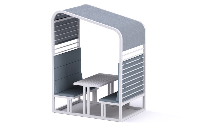Sombrero Dining Booth by Mamagreen - Urban White Powder Coated Aluminum, Mineral Blue Chine Sunbrella Shade/Cushion.