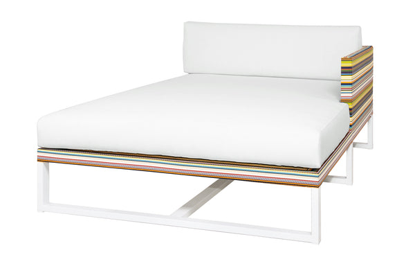 Stripe Left Hand Chaise by Mamagreen - White Sand Aluminum, Green Barcode Textilene Stripe, White Sunbrella Cushion.