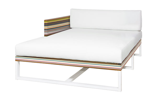 Stripe Right Hand Chaise by Mamagreen - White Sand Aluminum, Green Barcode Textilene Stripe, White Sunbrella Cushion.