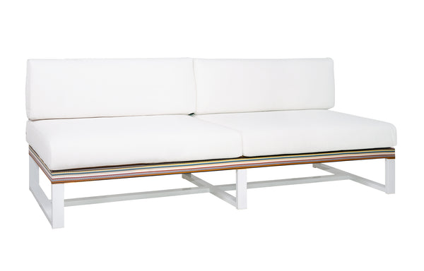 Stripe Sectional 2-Seater by Mamagreen - White Sand Aluminum, Green Barcode Textilene Stripe, White Sunbrella Cushion.