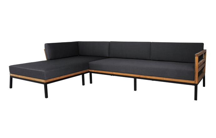 Zudu Asymmetric Corner Sofa Right Hand Chaise by Mamagreen - Ink Black Aluminum, Coal Sunbrella Cushion.