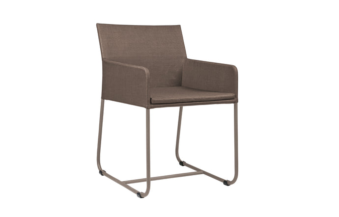 Zudu Dining Armchair by Mamagreen - Taupe Powder Coated Aluminum, Nutmeg Batyline Lounge.
