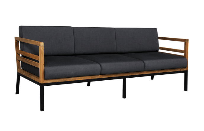 Zudu Lounge 3-Seater by Mamagreen - Ink Black Aluminum, Coal Sunbrella Cushion.