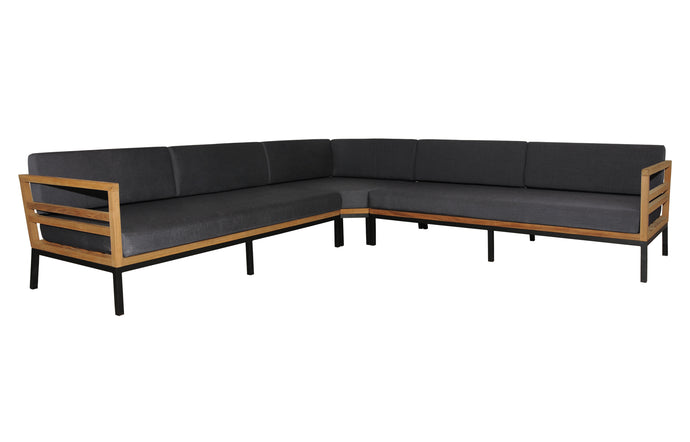 Zudu Oversized Corner Sofa by Mamagreen - Ink Black Aluminum, Coal Sunbrella Cushion.