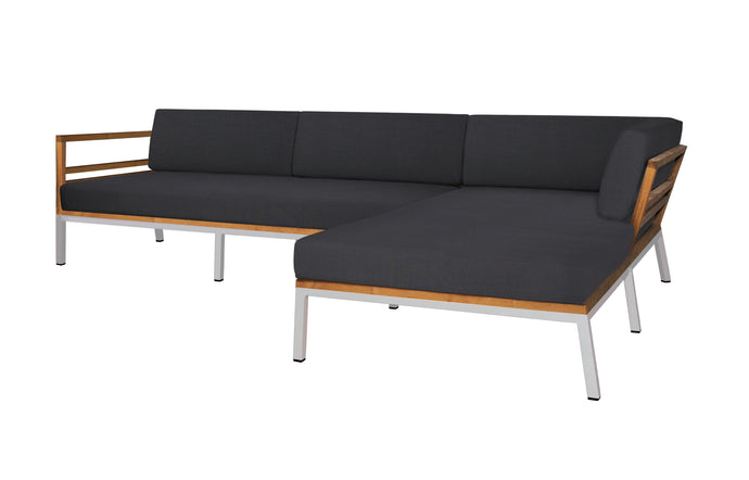Zudu Stainless Steel Asymmetric Corner Sofa Left Hand Chaise by Mamagreen - Coal Sunbrella Cushion.