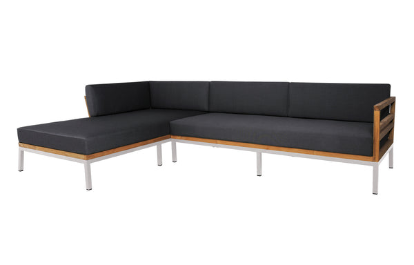 Zudu Stainless Steel Asymmetric Corner Sofa Right Hand Chaise by Mamagreen - Coal Sunbrella Cushion.