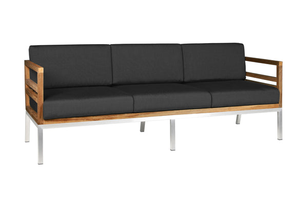Zudu Stainless Steel Lounge 3-Seater by Mamagreen - Coal Sunbrella Cushion.