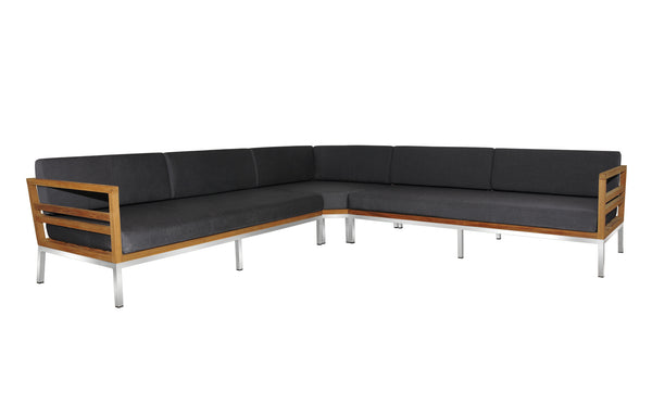 Zudu Stainless Steel Oversized Corner Sofa by Mamagreen - Coal Sunbrella Cushion.