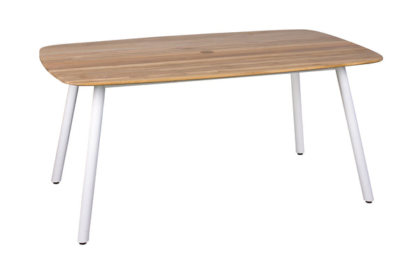 Zupy Teak Rectangular Table by Mamagreen - White Powder Coated Aluminum.