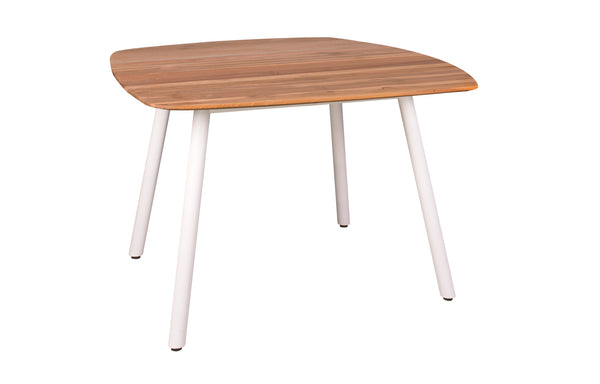 Zupy Teak Square Table by Mamagreen - White Powder Coated Aluminum.