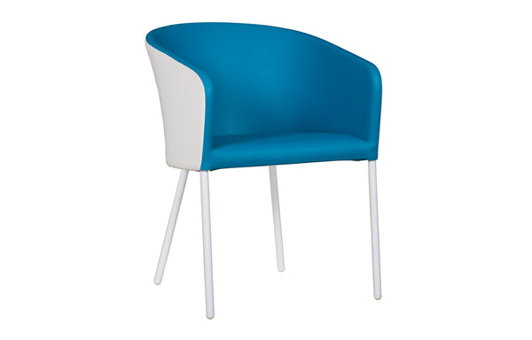 Zupy Twotone Stamskin-Leisuretex Dining Chair by Mamagreen - White Powder Coated Aluminum, Blue Stamskin Faux Leather (Inside) / White Twitchell Leisuretex (Outside).