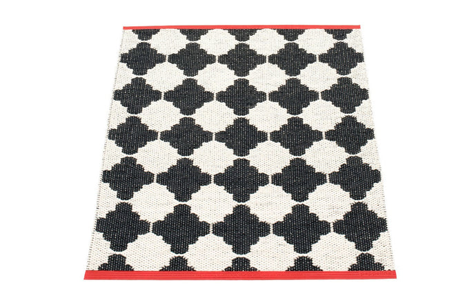 Marre Black & Vanilla with Coral Red Stripe Runner Rug by Pappelina.