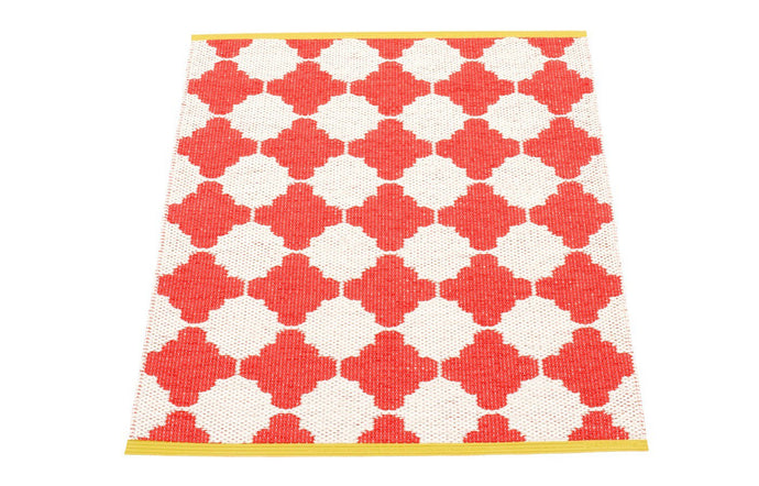 Marre Coral Red & Vanilla with Mustard Stripe Runner Rug by Pappelina.