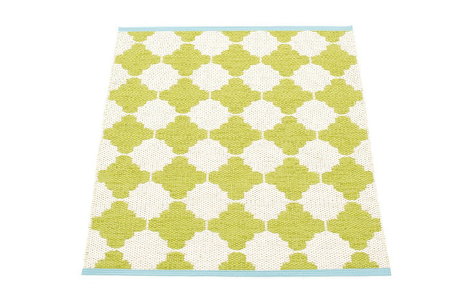Marre Lime & Vanilla with Turquoise Stripe Runner Rug by Pappelina.