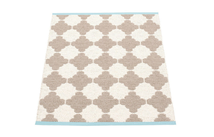Marre Mud & Vanilla with Turquoise Stripe Runner Rug by Pappelina - 28
