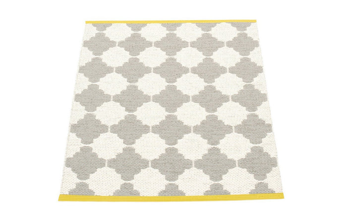 Marre Warm Grey & Vanilla with Mustard Stripe Runner Rug by Pappelina.