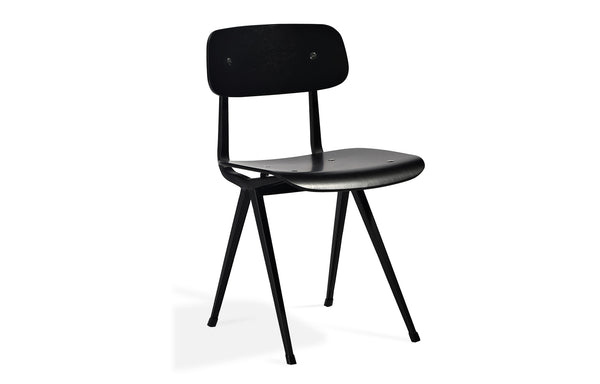 Perla Dining Chair by SohoConcept - Matt Black Frame With Plywood Oak Black Veneer Seat+Back