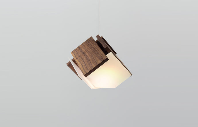 Mica LED Accent Pendant by Cerno - Walnut Wood.