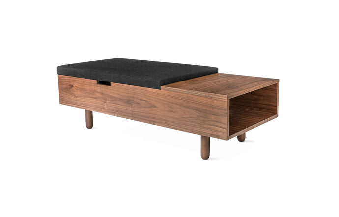Mimico Storage Ottoman by Gus Modern - Walnut Natural/Laurentian Onyx.