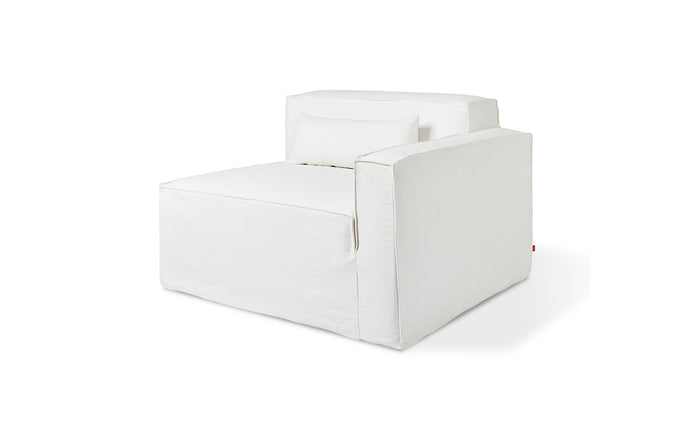 Mix Modular Slipcover Arm Right by Gus Modern - Washed Denim White Fabric.