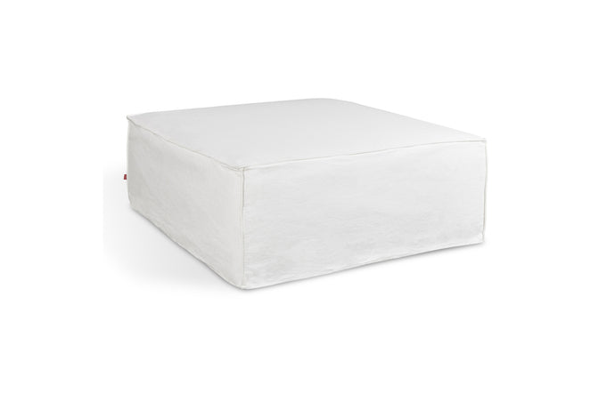 Mix Modular Slipcover Ottoman by Gus Modern - Washed Denim White Fabric.